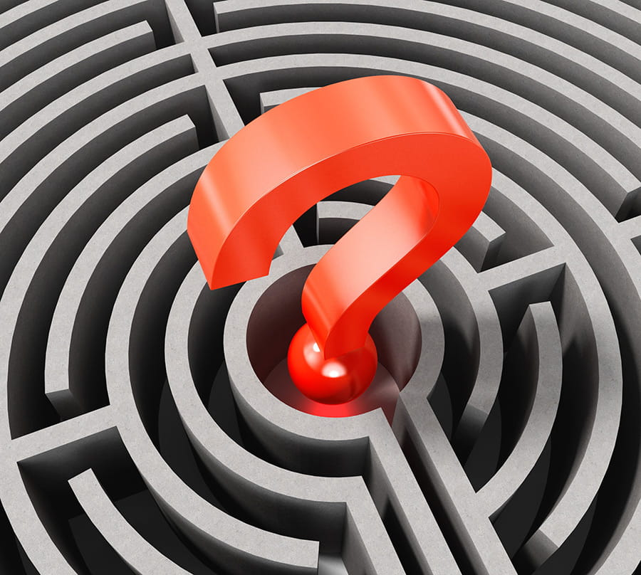 Questionmark at the center of a maze