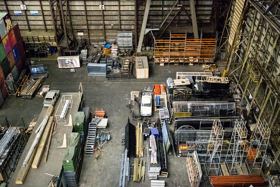 Top-Down Image of Cluttered Warehouse